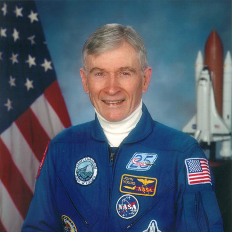 Image: U.S. astronaut John Watts Young, who walked on the Moon on April 21, 1972 during the Apollo 16 mission, photographed on May 12, 2009.