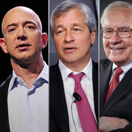 Image: Jeff Bezos, Jamie Dimon, Warren Buffett