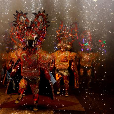 Image: Members of Diablada Urus group perform during Carnival in Oruro