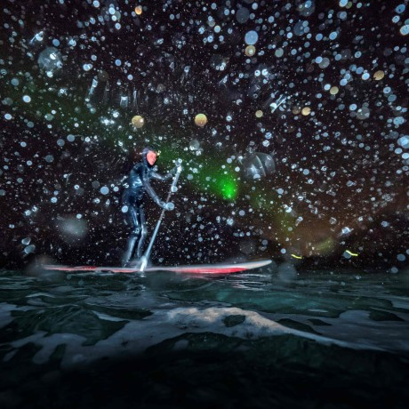 Image: Myrtille Heissat rides a stand up paddle board under Northern Lights in Unstad