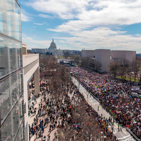 Image: A crowd of marchers gathers for the March for Our Lives Rally in Washington, DC on March 24, 2018.