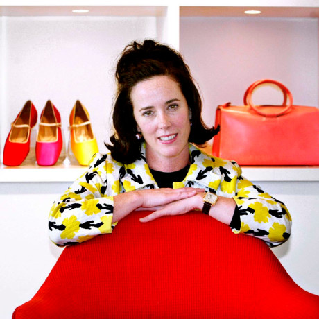 Image: Designer Kate Spade poses with handbags and shoes