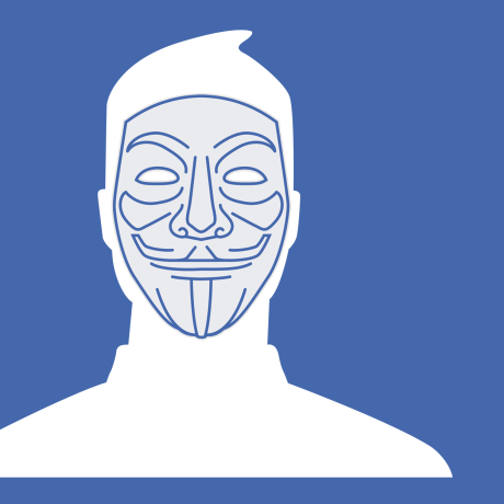 Illustration of the Facebook default profile photo wearing a vigilante mask.