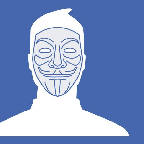 Illustration of the Facebook default profile photo wearing a vigilante mask.