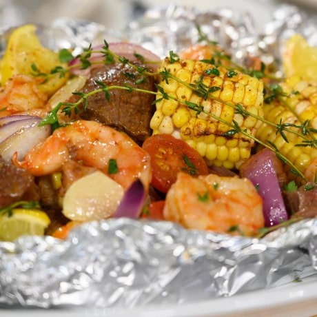 Kelsey Nixon's Greek Chicken with Peppers & Potatoes Foil-Packed Dinner + Surf & Turf Foil-Packed Dinner