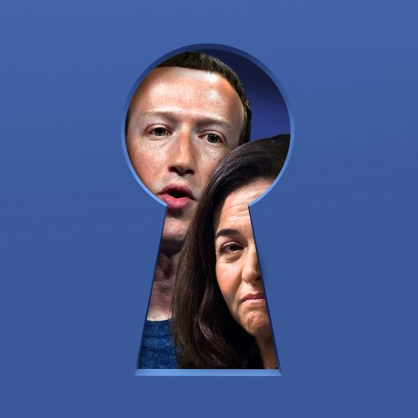 Illustration of Mark Zuckerberg and Sheryl Sandberg peaking out from a key hole.