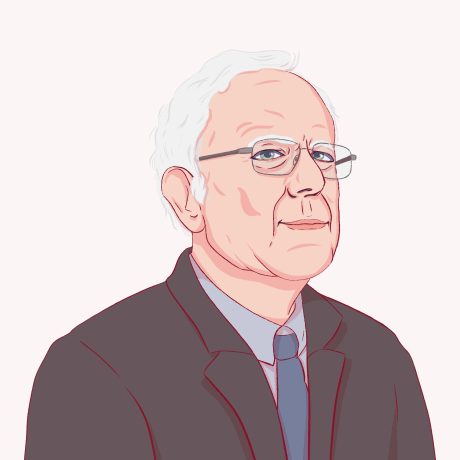 Illustration of Bernie Sanders.