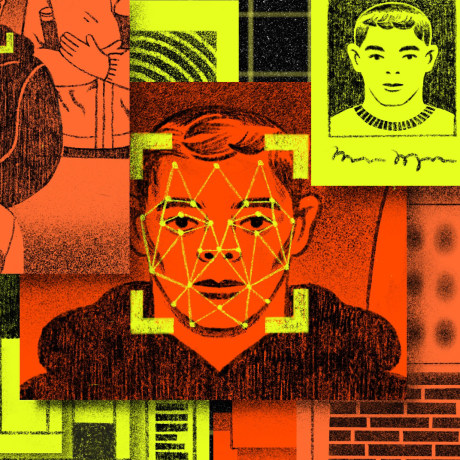 Illustration of layered driver's license, booking forms, surveillance footage, and face recognition points displayed on the face of a man.