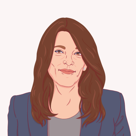 Illustration of Marianne Williamson.