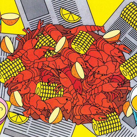 Illustration of a crawfish bowl.