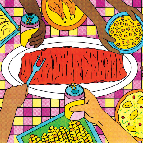 Illustration of a picnic table top with ribs and other summer foods.