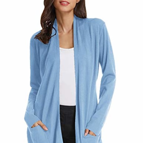 Women Pink Knit Ribbed Fall Sweaters Cotton Cardigan (S,Light Blue)