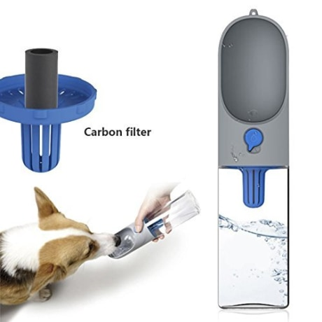 PETKIT Dog Water Bottle For Walking, 400 milliliter Portable Dog Water Dispenser Leak Proof Dog Travel Water Bottle Bowl with Filter, One Hand To Watering, Easy To Carry