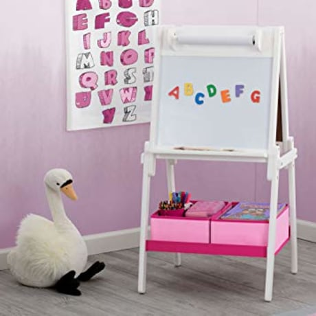Delta Children MySize Double-Sided Storage Easel, Bianca White