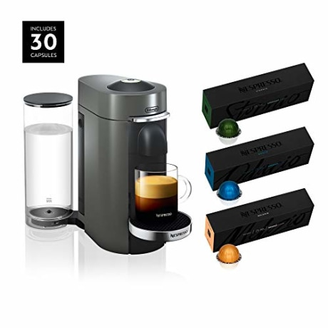Nespresso VertuoPlus Deluxe Coffee and Espresso Maker by De'Longhi, Titan, with Best-Selling Coffees