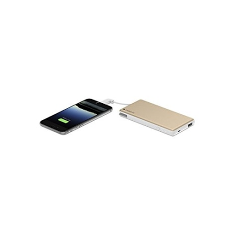 mophie powerstation Plus External Battery with Built in Cables for Smartphones and Tablets (6,000mAh) - Gold