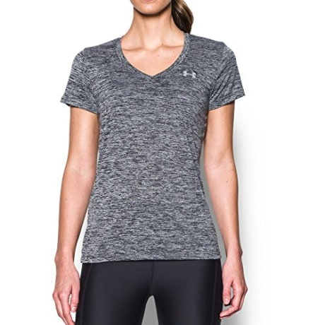 Under Armour womens Tech V-Neck Twist Short Sleeve T-Shirt, Black (001)/Metallic Silver, Medium