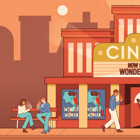 Illustration of people outside movie theatre watching movies on their phones as Wonder Woman sells out the theatre.