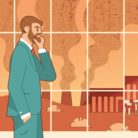 Illustration of lawmaker watching protests outside a window as smoke stacks billow in the distance.