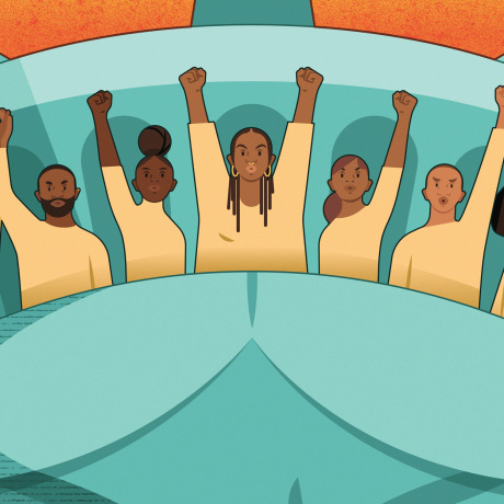 Illustration of Black Lives Matters activists raising fists inside the crown of the Statue of the Liberty.