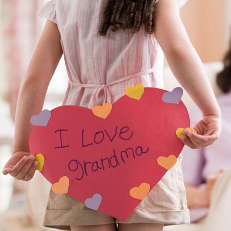 Girl with card for grandma