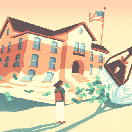 Image: A mop pushes away a melting school while dollar bills fly around and a student watches.