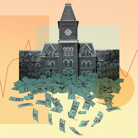 Photo illustration of a school with money pouring out from it, silhouettes of students, and a bar graph.