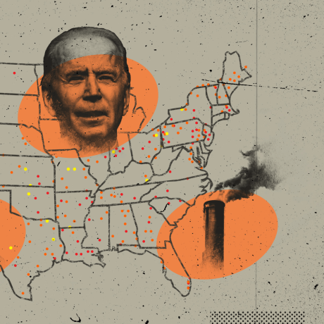 Image: A map of the United States shows dots for Superfund site locations, with large orange ovals showing Joe Biden, Donald Trump, an EPA worker and a smokestack.
