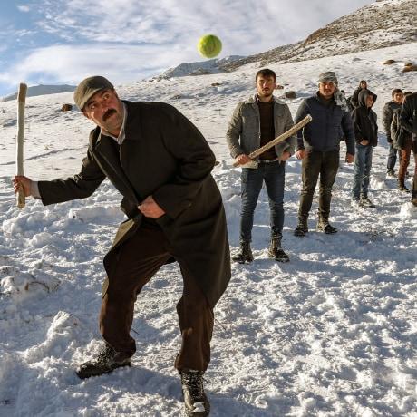 Playing baseball in snow in Turkey's Van