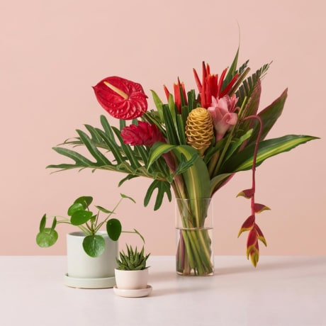 Image of flowers in a vase and mini planter pots