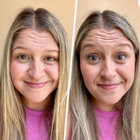 Before and after photo of Terri Peters wearing the Maybelline's Sky High Mascara