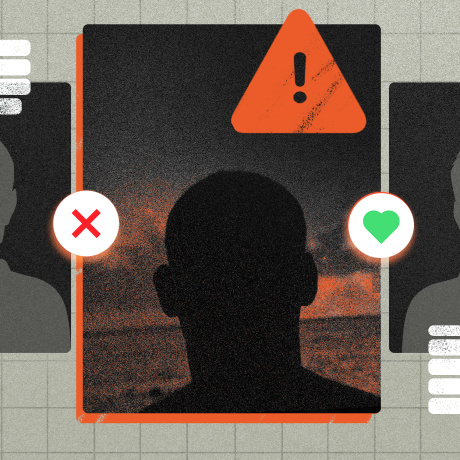 Photo illustration: Five user profiles and the one in centre has an alert sign on it. It also has two buttons, one with a heart on the right and one with across to left.