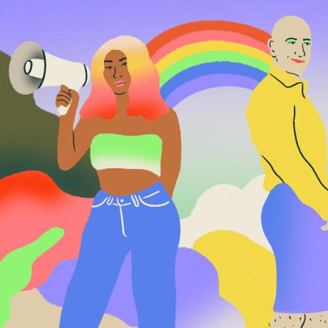 Illustration of LGBTQ+ people in a Garden of Eden near a rainbow.