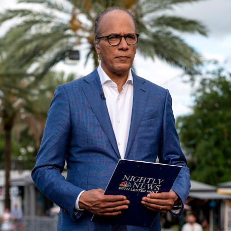 """Image: Lester Holt films NBC's \""""Nightly News\"""" from Orlando, Fla., in 2021."""