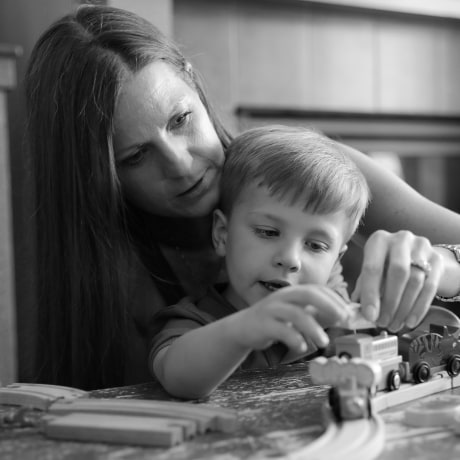 Ann Marie Timmerman plays with her youngest son, Tristan.