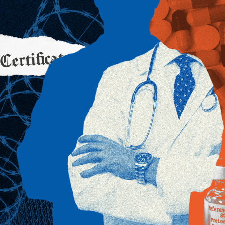 Photo illustration: A prisoner getting a vaccine, torn pieces of a medical certificate, part of a silhouette of a doctor and pills and medicine vials.