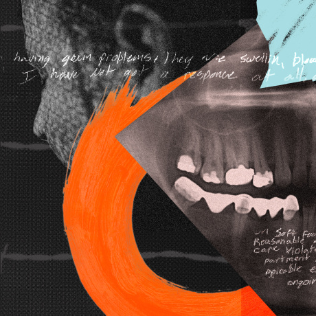 Photo collage: Image of a person looking away, shape of the state of Michigan, a dental x-ray and hand scribbled notes.