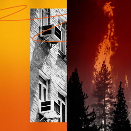 Illustration of air conditioners, trees on fire in California, and a temperature gauge showing over 120 degrees Fahrenheit.