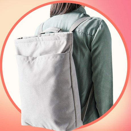 Illustration of a Woman wearing a backpack that converts to a tote bag from Ikea and a woman filling her Ikea tote bag