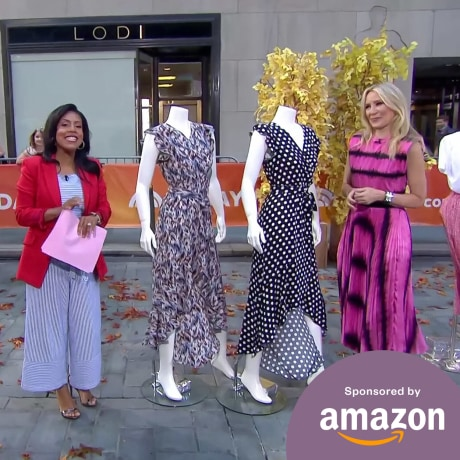 Image of Sheinelle Jones and Chassie Post on the plaza, talking about amazon broadcast segment
