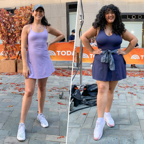 Three Woman on broadcast showing off different styles of exercise dresses