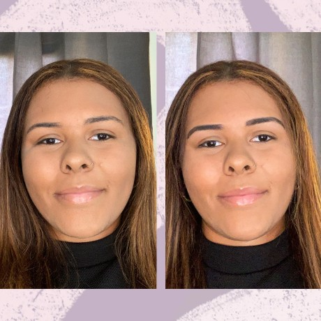 Writer Kamari Stewart in three different photos, showing before, during, and after the Madluvv Brow Stamp