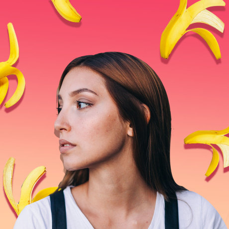 Illustration of a Woman looking to the side with bananas falling around her