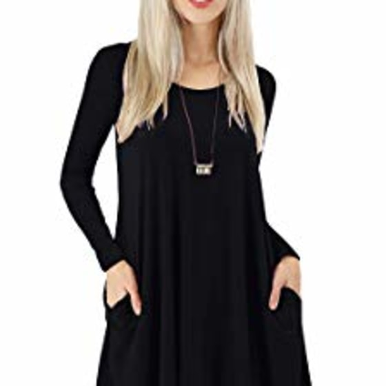CHIDY Womens Long Sleeve Cotton Blend Lace T-Shirt Dress with Pockets Relaxed Blouse
