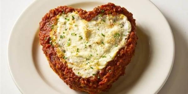 Buca di Beppo's heart-shaped lasagna