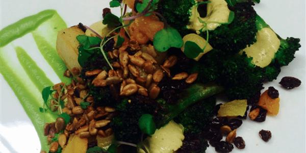 Broccoli a la Plancha: With Yogurt Curry, Sunflower Seeds, Black Currants