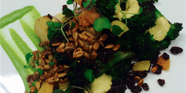 Broccoli a la Plancha: With Yogurt Curry, Sunflower Seeds, Black Currants