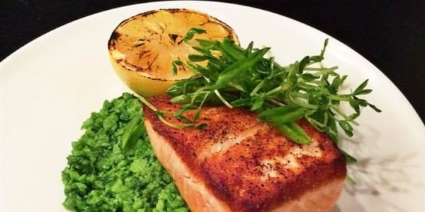 Wild Salmon with Mashy Peas, Pea Shoot Salad & Grilled Lemon