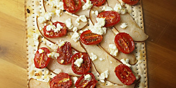 Pear, Oven Roasted Tomatoes and Goat Cheese Matzo Pizza