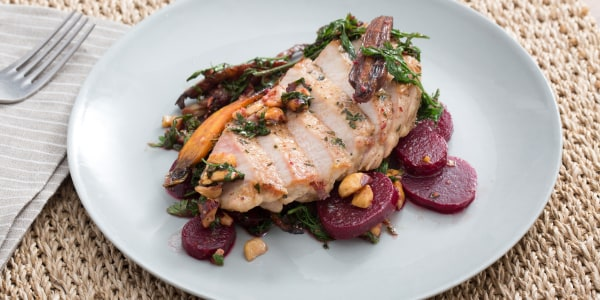 Center-Cut Pork Chops with Beet, Carrot & Hazelnut Salad